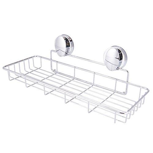 Chrome Bathtub Shelf (Super Vacuum Suction Cup Shower Caddy Basket, Rustproof Soap Dish Rectangle Basket Wall Shelves Shampoo Holder Organizer for Kitchen & Bathroom Storage, Chromed Finished)