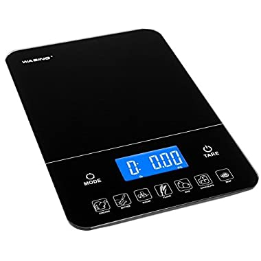 WASING Touch Professional Digital Tempered Glass Kitchen Scale 22 lbs (10 kg) With Calorie Counter WS-YHC1518B
