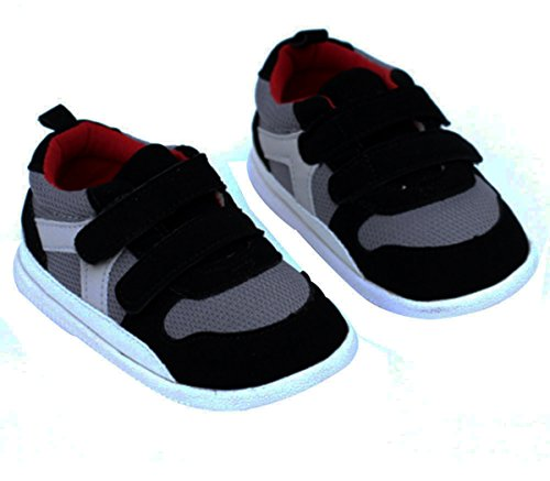 Kuner Baby Boys and Girls Cotton Rubber Sloe Outdoor Sneaker First Walkers Shoes (13.5cm(12-18months), Black)