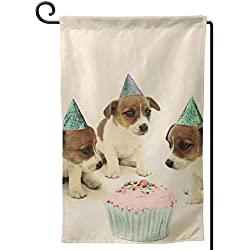 Private Bath Customiz Vintage Puppy Birthday Cake Dogs Garden Flag Waterproof Double Sided Yard Outdoor Decorative 12.5 X 18 Inch Welcome Flags