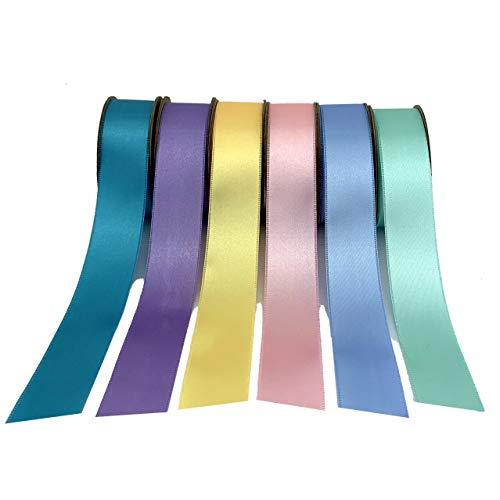 Satin Fabric Gift Basket Ribbon - 1 x 10 Yards, Set of 6, 60 Yards Total, Pink, Light Blue, Lavender, Turquoise, Light Yellow, Gift Bows, Easter, Pastels