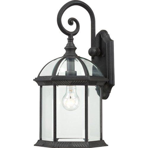 1 Light Down Arm (Nuvo Lighting 60/4966 Boxwood One Light Mid-Size Wall Lantern/Arm Down 100 Watt A19 Max. Clear Beveled Glass Textured Black Outdoor Fixture)