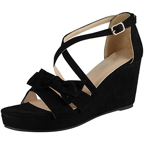 Loud Look Womens Ladies Platform Peeptoe Party Wedding Platform Shoes Wedge Sandals Sizes 3-8 Black wpNTUtXWcw