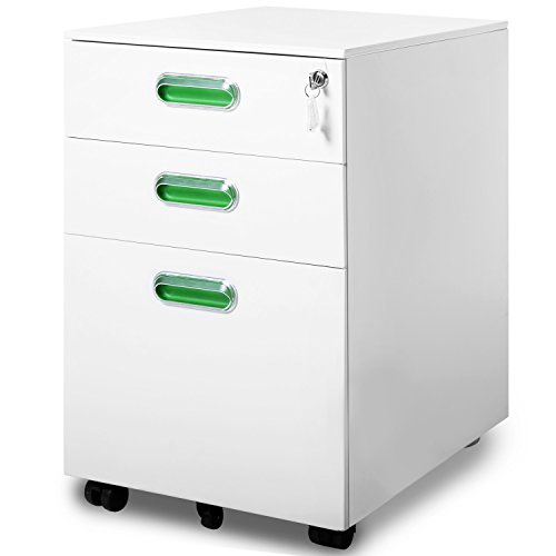Modern Luxe By Merax 3 Drawer Mobile File Cabinet Solid Metal Rolling Cabinet Fully Assembled Except Casters (white and green) by Merax.