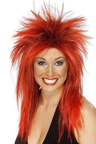 (Smiffys Women's Long Red Rocker Mullet, One size, Rock Diva Wig,)