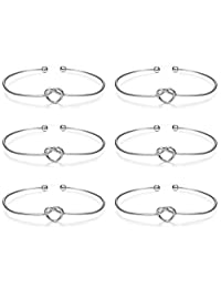 Subiceto 6 Pcs Knot Bangle Bracelets Simple Love Cuffs Bridesmaid Bracelets for Women Girls Stretch Bracelets