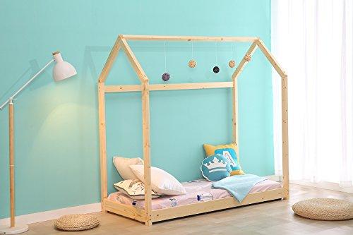 Bestmart INC Children Toddler Bed House Bed Frame, Cabin Bed, Floor Bed, Tent Bed Play Tent, Children Bedroom Furniture, Premium Wood & SGS Certified Paint, Baby Safe 2