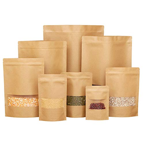 50 pcs Kraft Bags with Window Stand Up Ziplock Seal Paper Bag Resealable Large Food Storage Pouch 16oz 1lb 8×12in
