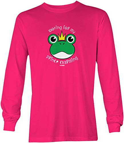 - Tcombo Looking for My Prince Charming - Frog Long Sleeve Youth Shirt (Pink, Medium)