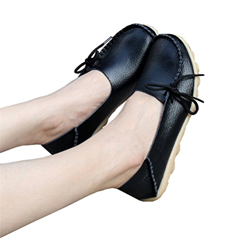 Always Pretty Women's Casual Leather Mother Loafers Boat Shoes Driving Footwear for woman Black US 9