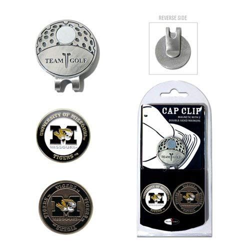 (Team Golf NCAA Missouri Tigers Golf Cap Clip with 2 Removable Double-Sided Enamel Magnetic Ball Markers, Attaches Easily to Hats)