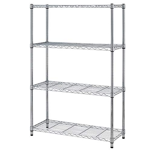 4shelf Wire Shelving Unit Garage NSF Wire Shelf Metal Large Storage Shelves Heavy Duty Height Adjustable Utility Commercial Grade Steel Layer Shelf Rack Organizer for 1000 LBS Capacity 14x36x54,Chrome