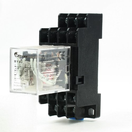 Uxcell MY4J AC 12V Coil 5 Amp 14 Pin 4PDT 4 NO 4 NC Electromagnetic Relay with Base Socket