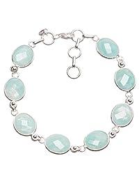 """StarGems(tm) Natural Blue Aquamarine Handmade Vintage 925 Sterling Silver Bracelet 7-7 3/4"""""""