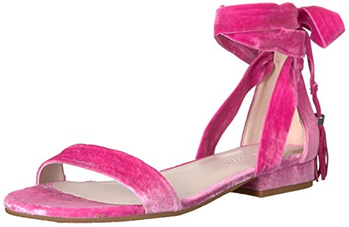 Kenneth Cole New York Women's Valen Strappy Ankle Wrap Tassel Velvet Sandal, Fuchsia, 8.5 Medium US (Ankle Wrap Strappy)