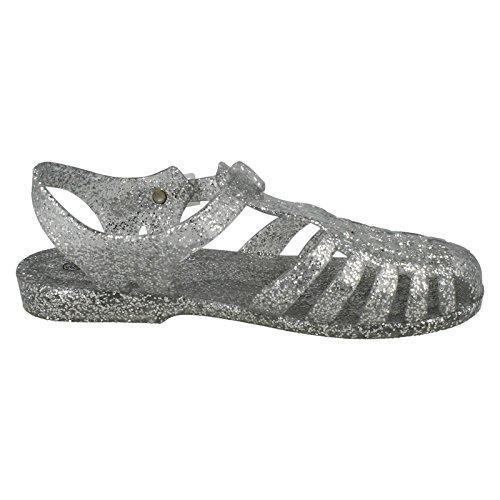 Ladies Spot On Glitter Jelly Buckle Sandals F0713 Silver sghmrIqa2