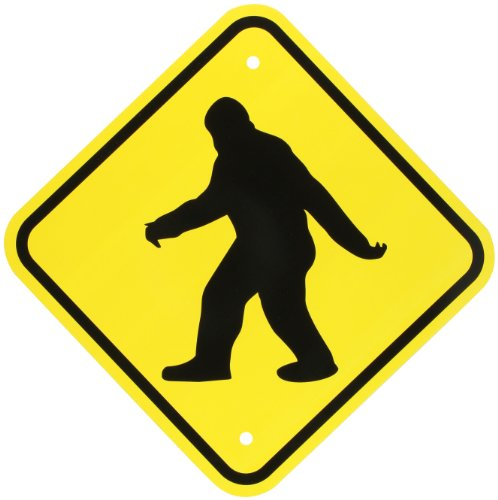 "SmartSign Aluminum Sign, ""Sasquatch Big Foot Crossing"" with Graphic, 12"" square, Black on Yellow"