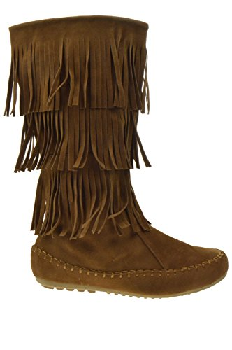 Shoe Dezigns Western 01 Womens 3 Layer Fringe Moccasin Mid-Calf Boots Tan - Indian Fringe Boot