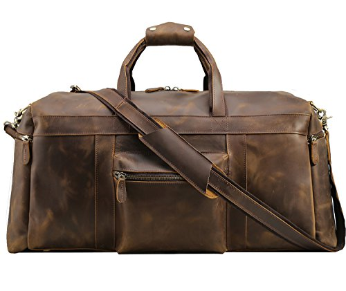 "Texbo Men's Thick Cowhide Leather Vintage Big Travel Duffle Luggage Bag (Brown X Large 25"")"