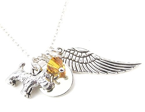 LaFenne Personalized Terrier Dog Angel Wing Necklace with Crystal from Swarovski Custom Alphabet Letter Charm