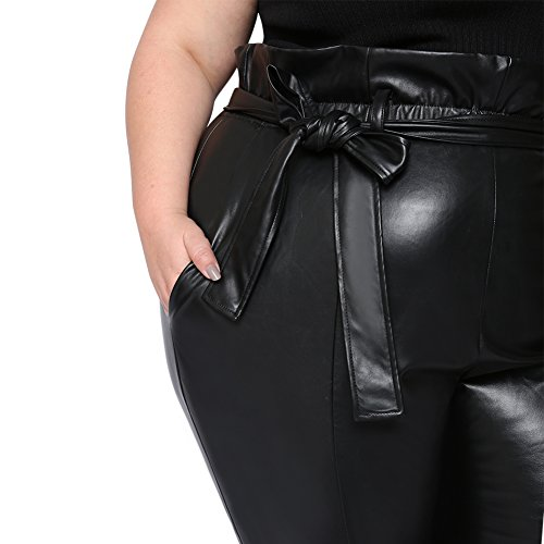 Astra Signature Women's High Waist Stretchy Casual Plus Size Anne Leather Paperbag carpi Pants With Pockets (20W) by Astra Signature (Image #5)