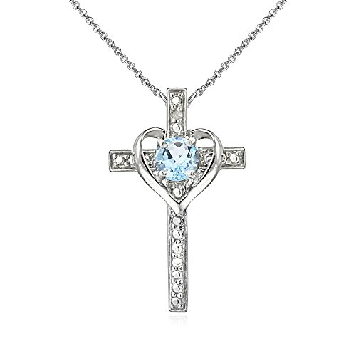 Sterling Silver Blue Topaz Cross Heart Pendant Necklace for Girls, Teens or - Bracelet Blue Topaz Pendant
