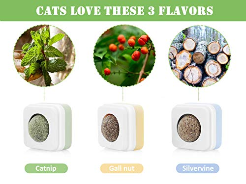 Pecute Catnip Balls Toy for Cats, Catnip Edible Balls Natural Rotatable Licking Treats Toys for Cats Kitten (3 Pack)