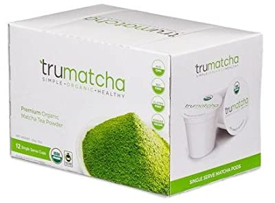 Organic Matcha Green Tea Single Serve Cups (Works for Keurig K Cups 1.0 & 2.0 Brewers) Japanese Ceremonial Grade, Rich in Antioxidant, Delicious & Convenient