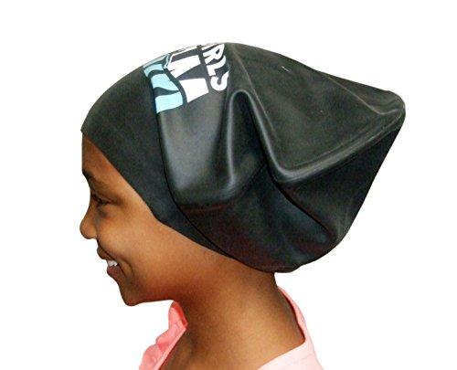 Black Girls Swim XL Silicone Swim Cap for Long Hair - Locks, Braids, Weaves and Extensions