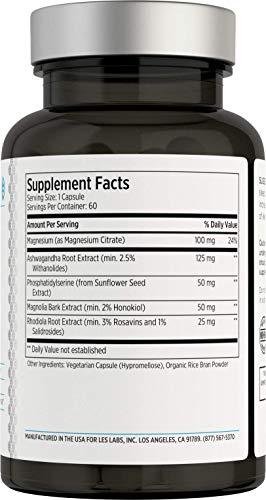 LES Labs Cortisol Health, Adrenal Support Supplement for Stress Relief, Balanced Cortisol Response & Adrenal Fatigue with Phosphatidylserine & Ashwagandha, 60 Capsules