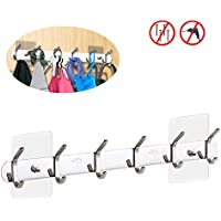 EINFAGOOD Over the Door Hooks 12 Hooks Stainless Steel, Double Coat Rack with Magic Adhesive Pads, Stainless Steel (Polished Finish)