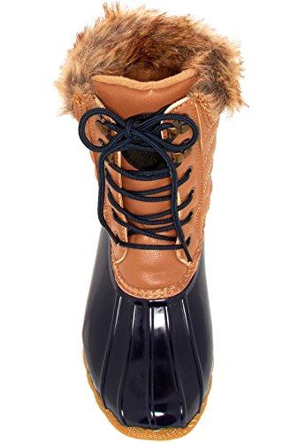 Arktisk Plunge Kvinna Quilty Boot Tan-marinblå