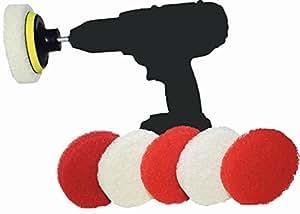 Spin-Scrub Drill Brush Scrub Pad with Drill Attachment - Spin Scrubber for Tile, Sink, Water Spot, Fiberglass Tub, Vinyl Floor - Non-Scratch - Bathroom Scrubber Attachment For Drill (6-Pack)