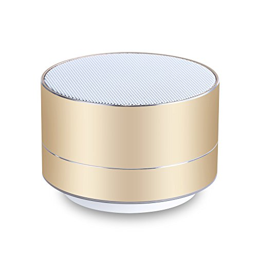 Kunodi A2 Bluetooth 4.1 Portable Wireless Outdoor/ Sport / Car Mini Speakers with Hands-free Function, Built-in Mic for iPad, Samsung and More (Gold) - Jar Bluetooth Speaker