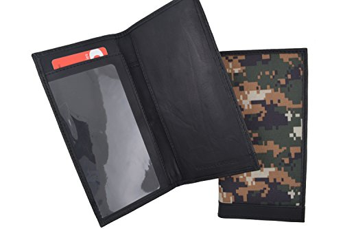 RFID Blocking Brand New Hand Crafted Army Camo Genuine Soft Leather Checkbook Cover simple-156 (Simple Checkbook Cover)