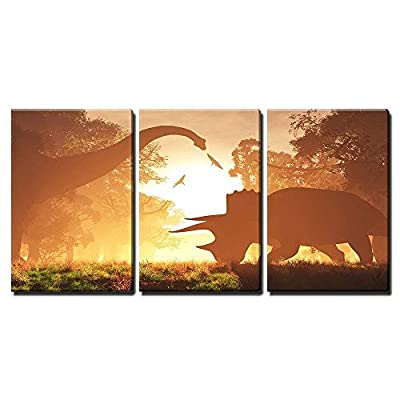 Marvelous Creative Design, Dinosaurs in Prehistoric Jungle in The Sunset Sunrise 3D Artwork x3 Panels, Created Just For You