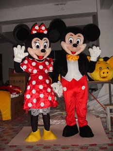 Couple Mickey & Minnie Mouse Mascot Cartoon Character Adult Sz (Mickey Mouse Costume Rental For Adults)