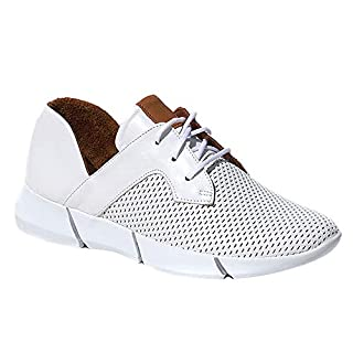 Elska Women's Vayah Solid Leather Sneakers (EU 41, White)