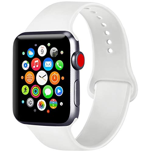 ATUP Compatible with for Apple Watch Replacement Band 38mm 40mm 42mm 44mm Women Men, Soft Silicone Band Compatible with for iWatch Series 4, 3, 2, 1 (White, 38mm/40mm-M/L)