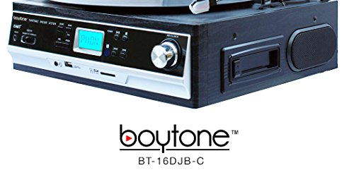 Boytone BT-16DJB-C 3-speed Stereo Turntable with 2 Built in Speakers Digital LCD Display + Supports USB/SD/AUX+ Cassette/MP3 & WMA Playback /Recorder & Headphone Jack + Remote Control by Boytone (Image #4)