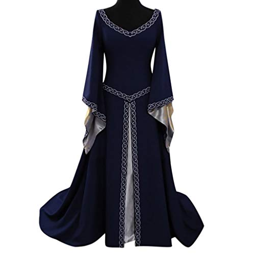 CCOOfhhc Vintage Dress-Women's Renaissance Medieval Dress Trumpet Sleeves Gothic Retro Gown Cosplay Halloween Costume for Women Blue ()