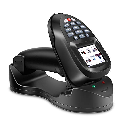 TroheStar Barcode Scanner 1D Wireless and Collector Portable Data Terminal Inventory Device Bar Code Reader PDT with TFT Color LCD Screen & USB Cradle Receiver Charging Base