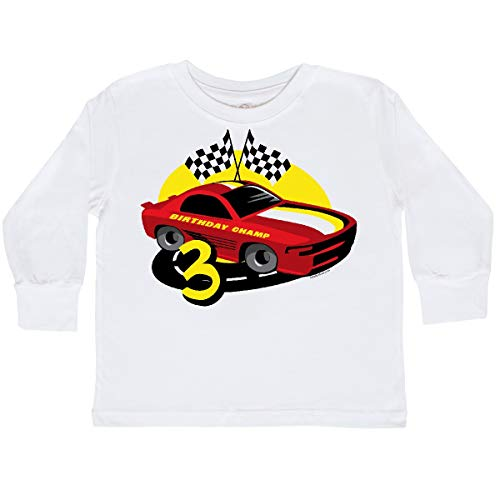 - inktastic - Race Car 3rd Birthday Toddler Long Sleeve T-Shirt 3T White 17bc0