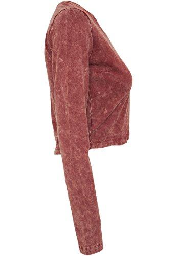 URBAN CLASSICS - Ladies Cropped Acid Wash Longsleeve (burgundy), Gr. L