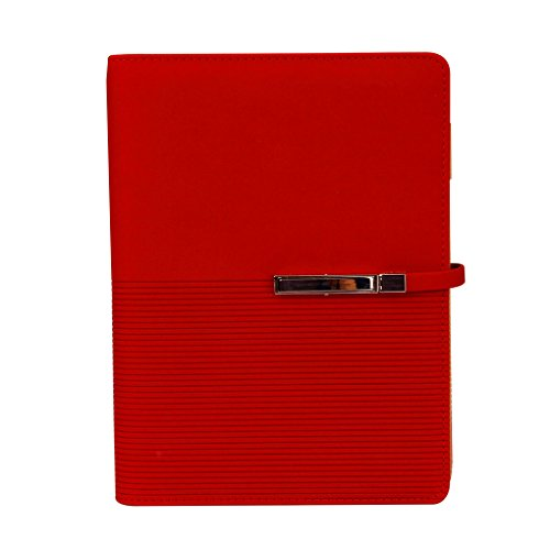 Refillable Wirebound Business Notebook - A5 Soft PU Leather Journal Spiral Bound Business Notebook Gift 6 Ring Binder Lined Notebook w/Pen Loop, Card Slots, Book Mark,100 Sheets 200 Pages