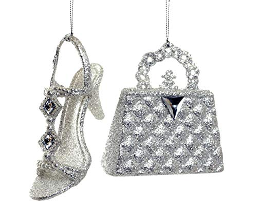 Caffco Sassy Silver Glitter Purse and High Heel Shoe Ornament Set