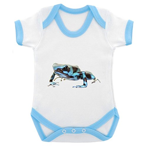 Poison Dart Frog Image Baby Bodysuit with Blue Contrast Trim & Black (Poison Arrow Dart Frog)