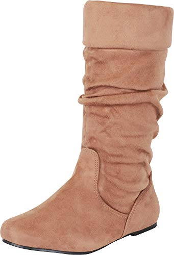 (Cambridge Select Women's Round Toe Slouch Cuff Flat Boot,7.5 B(M) US,Taupe)