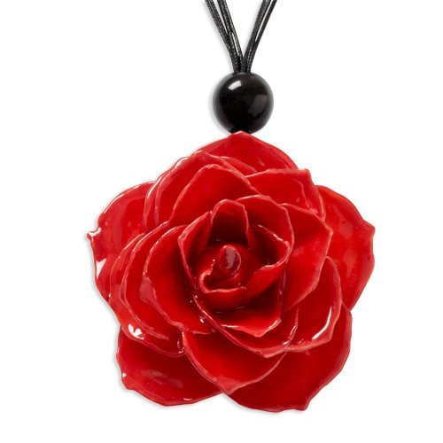 - Roses and Leaves Lacquer Dipped Red Rose w/ Black Cotton Cord Necklace