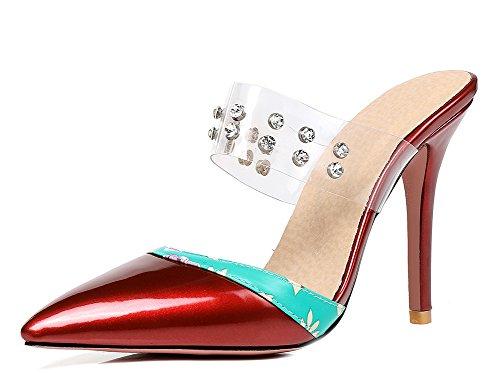 à pointu hauts Mode féminine Sandales bout et mules stilettos rouges Aisun EBq47wB